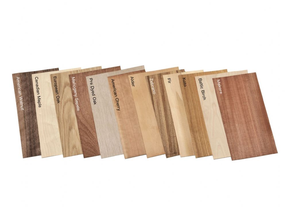Mixed pack of native and tropical natural wood veneers. Set of 12 leafs 30 cm.